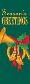 Seasons Greetings Gold French Horn Banner with Green