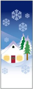 Snowy Winter House and Pine Trees Banner