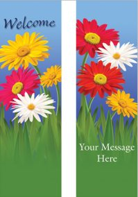 Cheerful Gerbera Daisies Welcome Banner