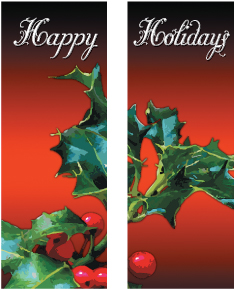 Happy Holidays Holly Leaves Double Banner