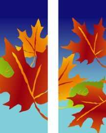 Falling Fall Maple Leaves on Blue Background Double Banner