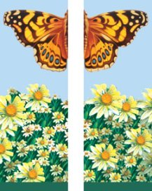 Giant Butterfly and Field of Daisy Flowers Summer Season Double Banner