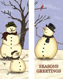 Seasons Greetings Snowman Family Snowy Double Banner