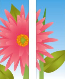 Large Pink Daisy Flower Double Banner