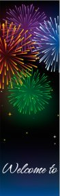 Stunning Bursting Fireworks Fourth of July Celebration Banner