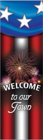 Welcome Summer Celebration Patriotic Fireworks Banner