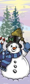Winter Snowman with Broom and Pine Trees Banner