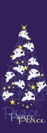 Peace Dove Holiday Tree with Stars Banner