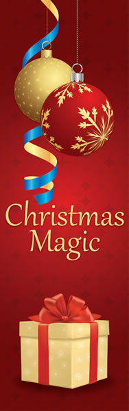 Christmas Magic Red and Gold Banner with Ornaments and Gifts