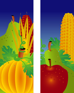 Fall Fruit, Corn, and Pumpkin Farmers Market Fall Harvest Double Banner