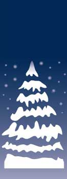 Winter Blue Snow Covered Pine Tree Banner