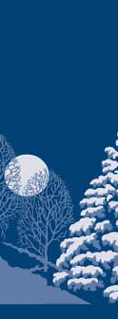 Snowy Pine Tree with Moon on Blue Fabric Banner