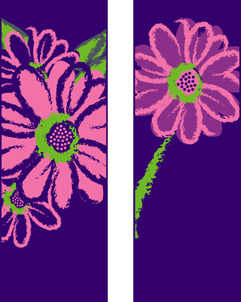 Purple and Pink Daisy Double Banner