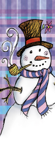 Charming Snowman on Colorful Plaid Background Banner