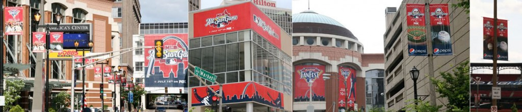 custom downtown event banners, signs, and building front decorations