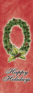 Designer Happy Holidays Wreath Banner