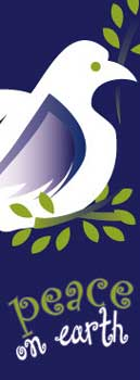 Peace on Earth Banner with White Dove holding Olive Branch