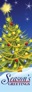 Festive Seasons Greetings Decorated Christmas Tree Banner