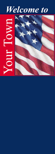 Personalized Welcome to Your Town Patriotic Light Pole Banner
