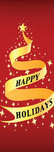 Elegant Red and Gold Happy Holidays Ribbon Banner