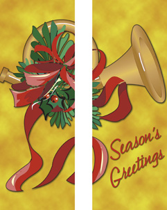 Festive Gold French Horn Seasons Greetings Double Banner
