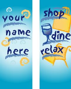 Shop, Dine, Relax Multi-Season Banner for Shopping Malls