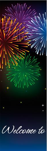 Stunning Bursting Fireworks Fourth of July Celebration Banner