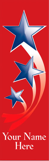 Personalized Blue Stars Light Pole Banner with Red Background