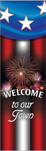 Welcome Summer Celebration Patriotic Fireworks Banner