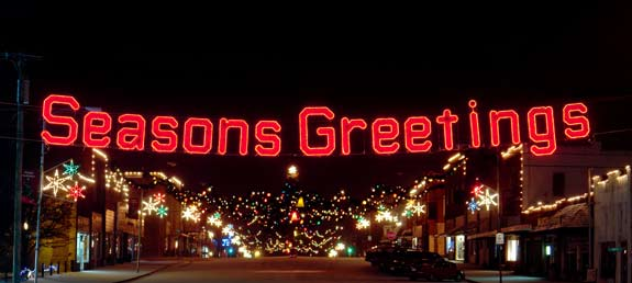 Seasons Greetings Town Skyline Decoration