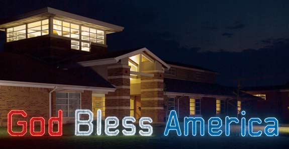 God Bless America Large Outdoor Display with Lights