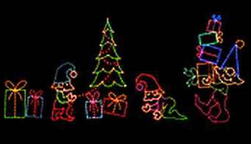 Christmas Elves with Gifts and Trees Holiday Light Decorations