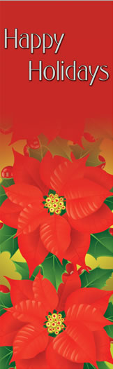 Designer Red Poinsettias Happy Holidays Banner