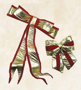 Elegant Gold Lame Bows with Velvet Trim