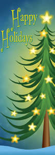 Illustrated Star Lit Christmas Tree Happy Holidays Banner