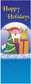 Happy Holidays Santa with Reindeer and Gifts Banner
