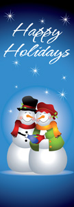 Happy Holidays Snowman Couple Banner