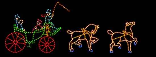 holiday carriage and horses outdoor light display