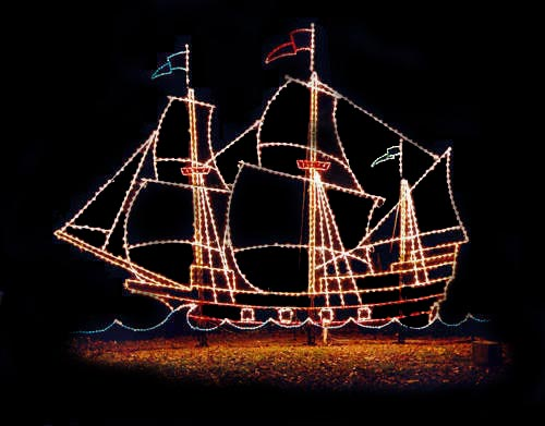 Large Holiday Light Show: Stunning Tall Ship