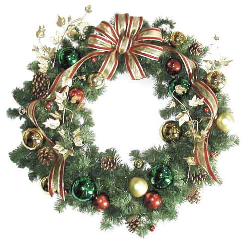 Large Classy Wreath with Gold and Red Bow