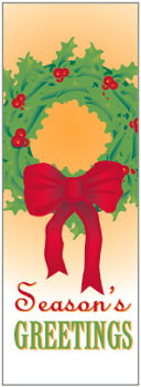 Seasons Greetings Wreath with Bow Banner