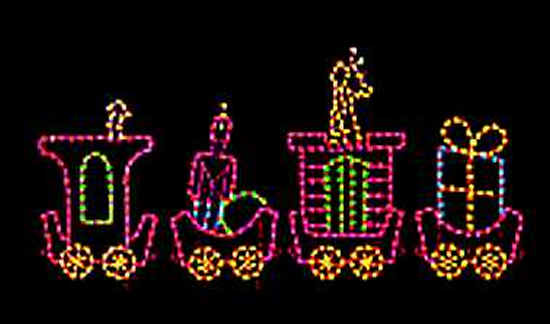 Christmas Holiday Train with gifts outdoor light display