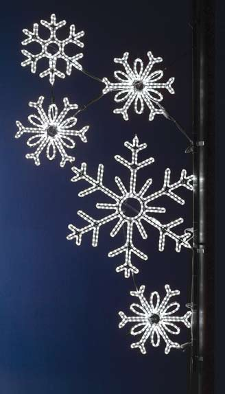 LED Falling Snowglakes Light Pole Decor
